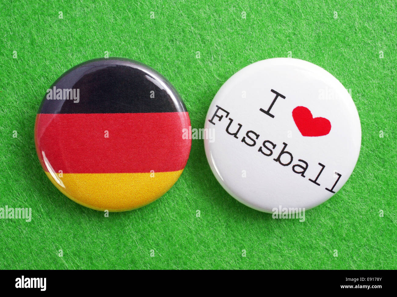 2 Buttons: I love Fussball and Germany - Stock Image