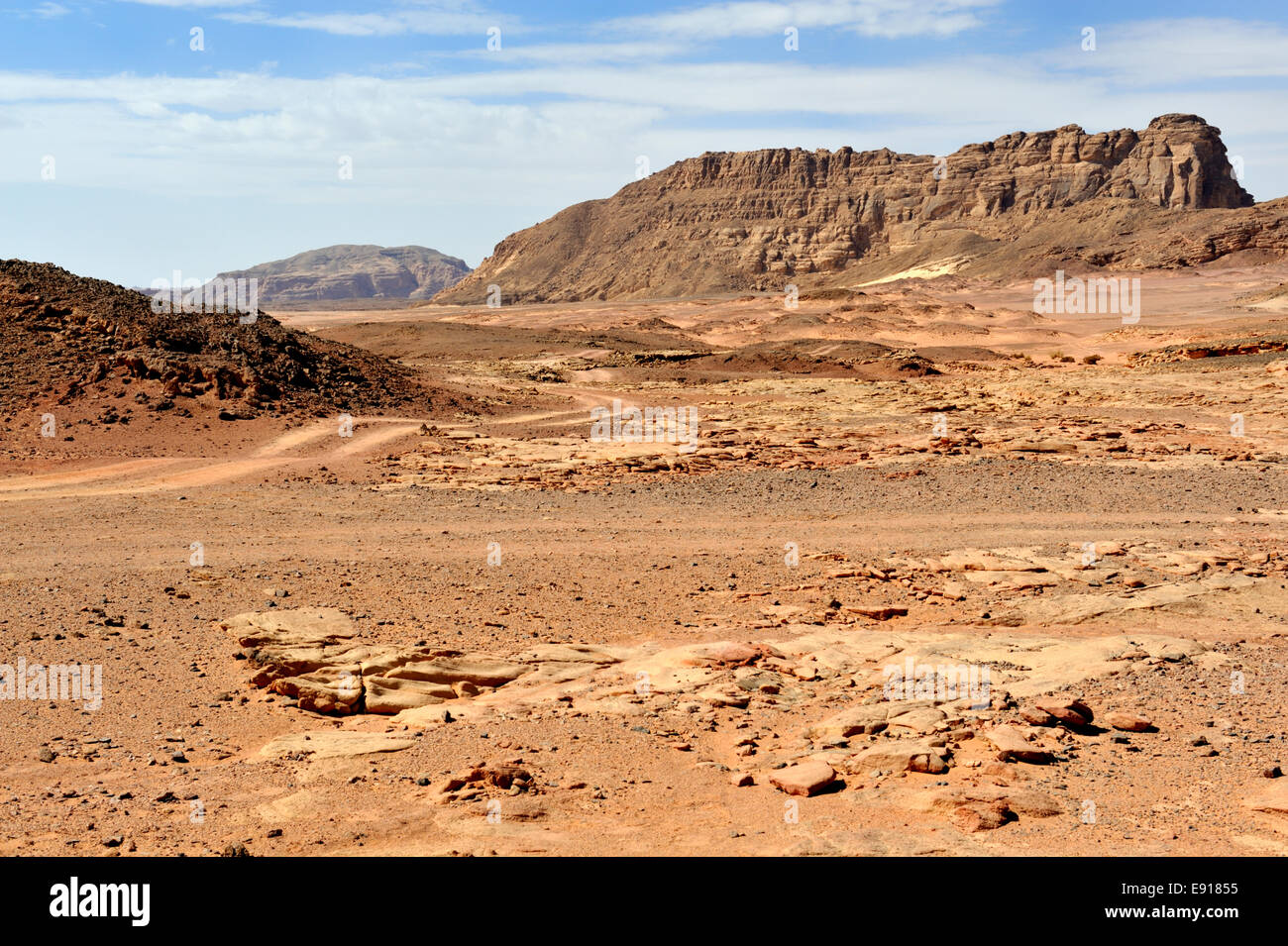 Desert landscape in South Sinai Peninsula between Dahab and Nuweiba, Egypt - Stock Image