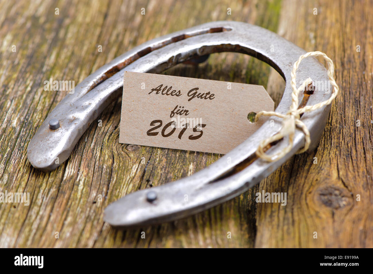 new year 2015 with horseshoe as talisman for good luck Stock Photo