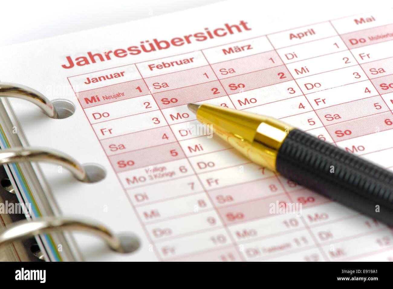 calendar of the year in german language Stock Photo