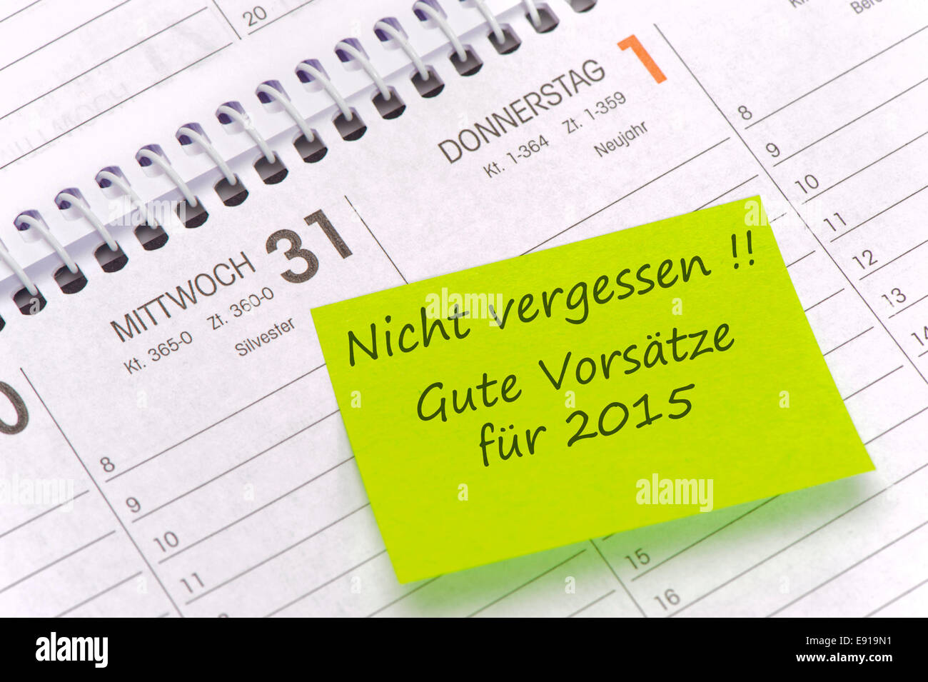 calendar with good wishes in german language Stock Photo