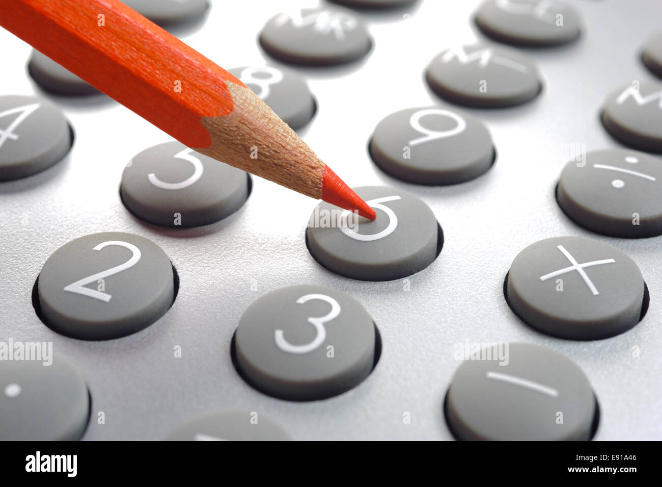 financial business calculation with calculator - Stock Image