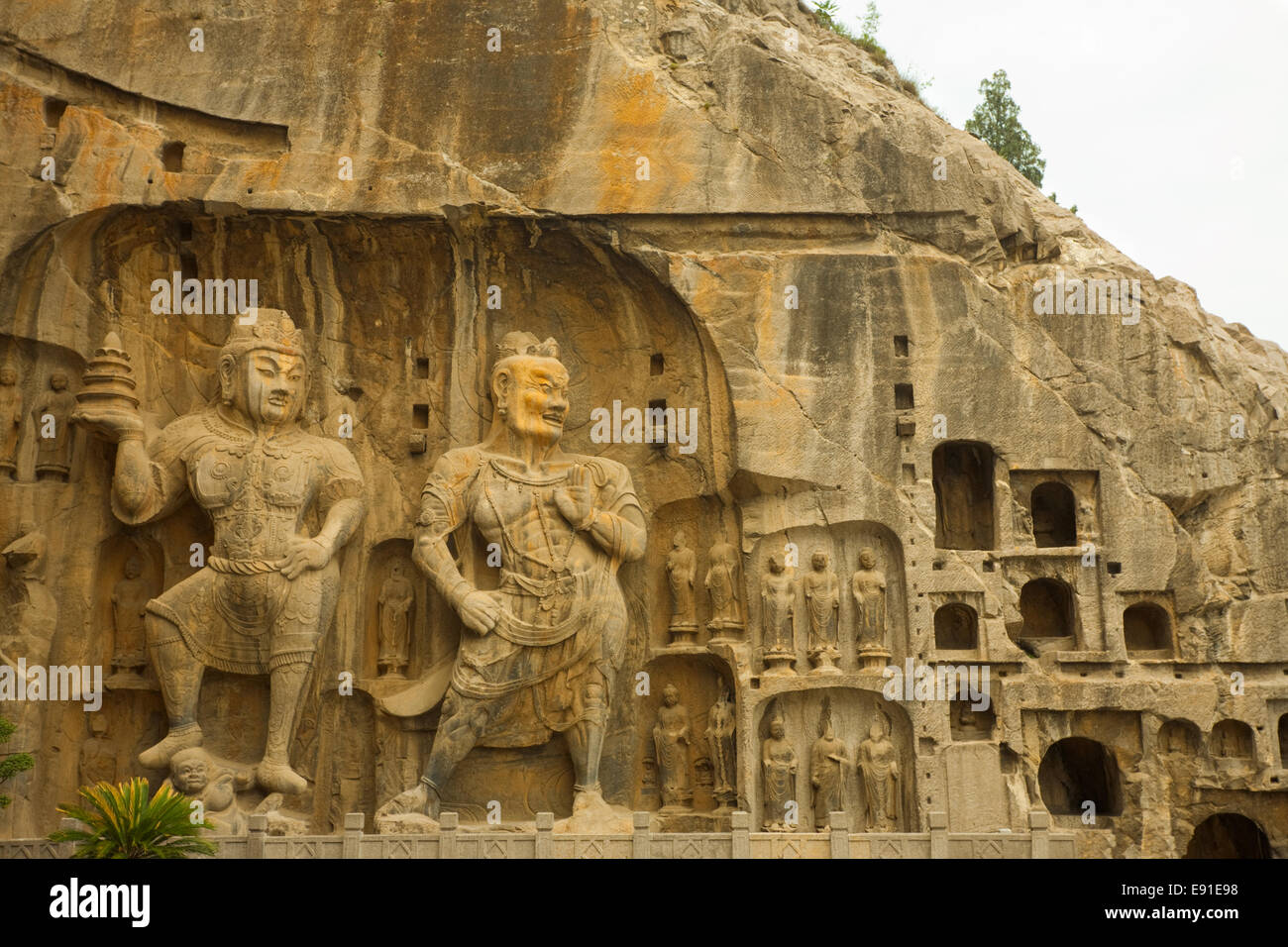 Large Longmen Grottoes Buddhist Carvings - Stock Image