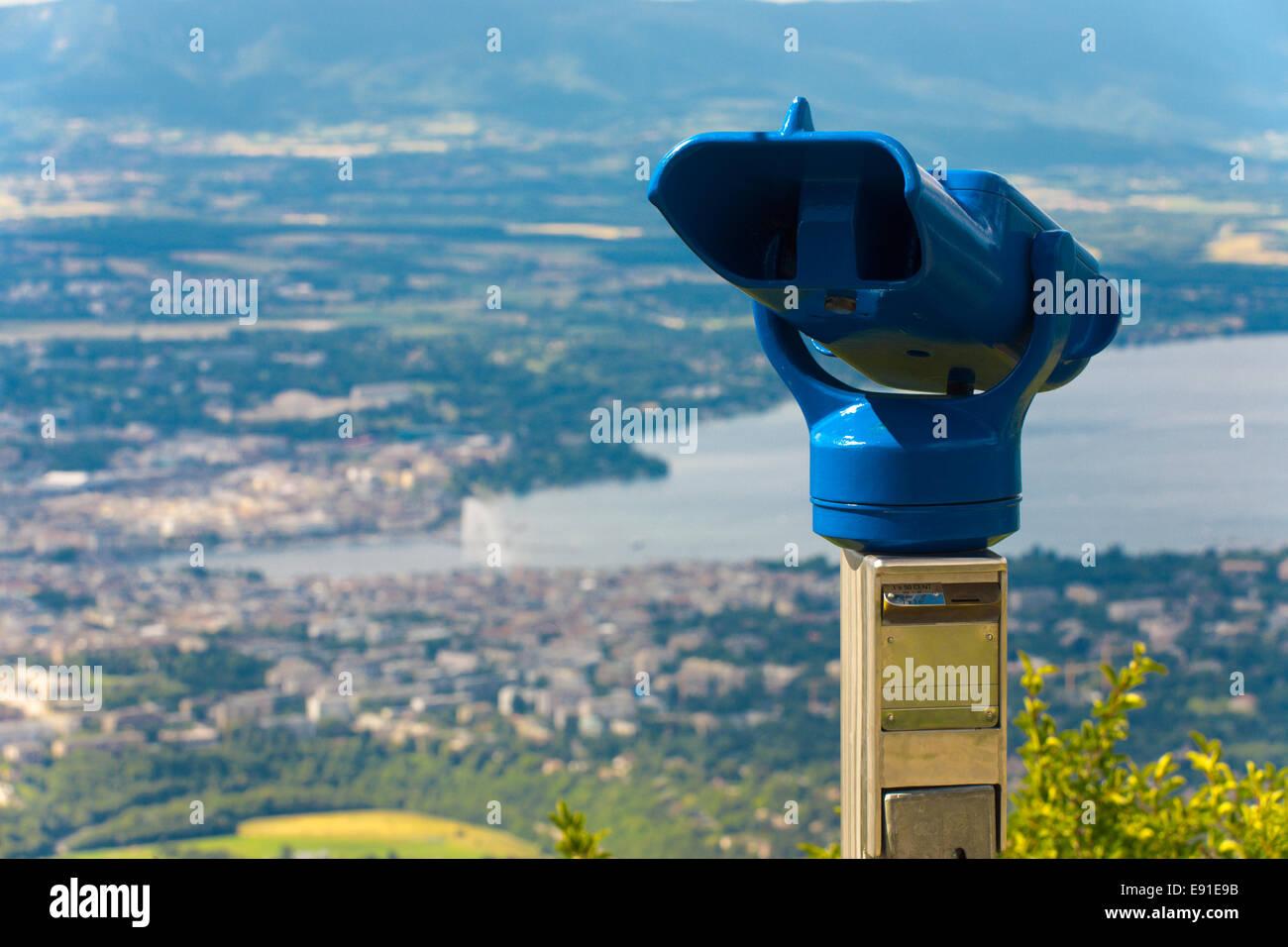 Coin Operated Binoculars Geneva - Stock Image