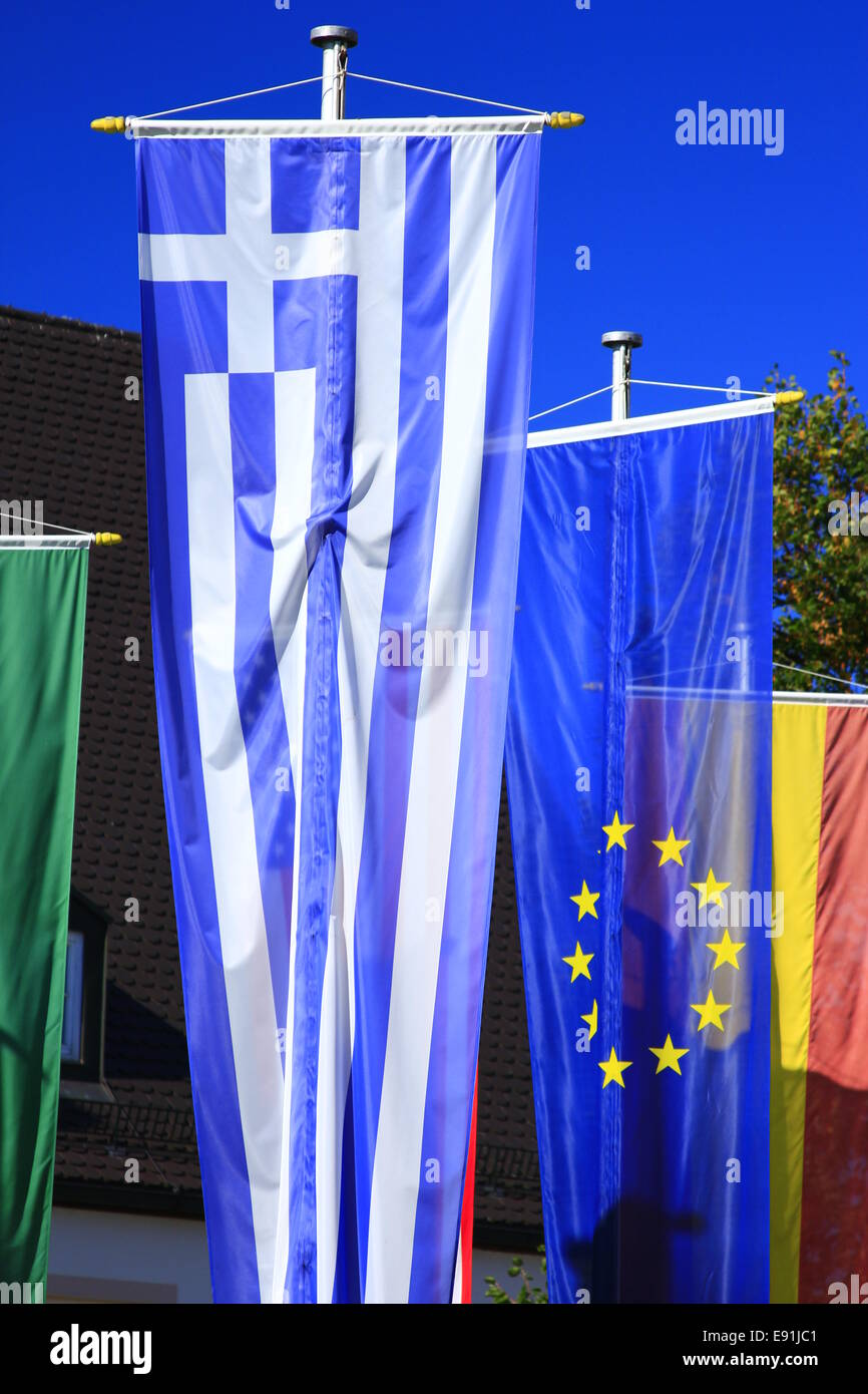 Flags of Greece and the European Union - Stock Image