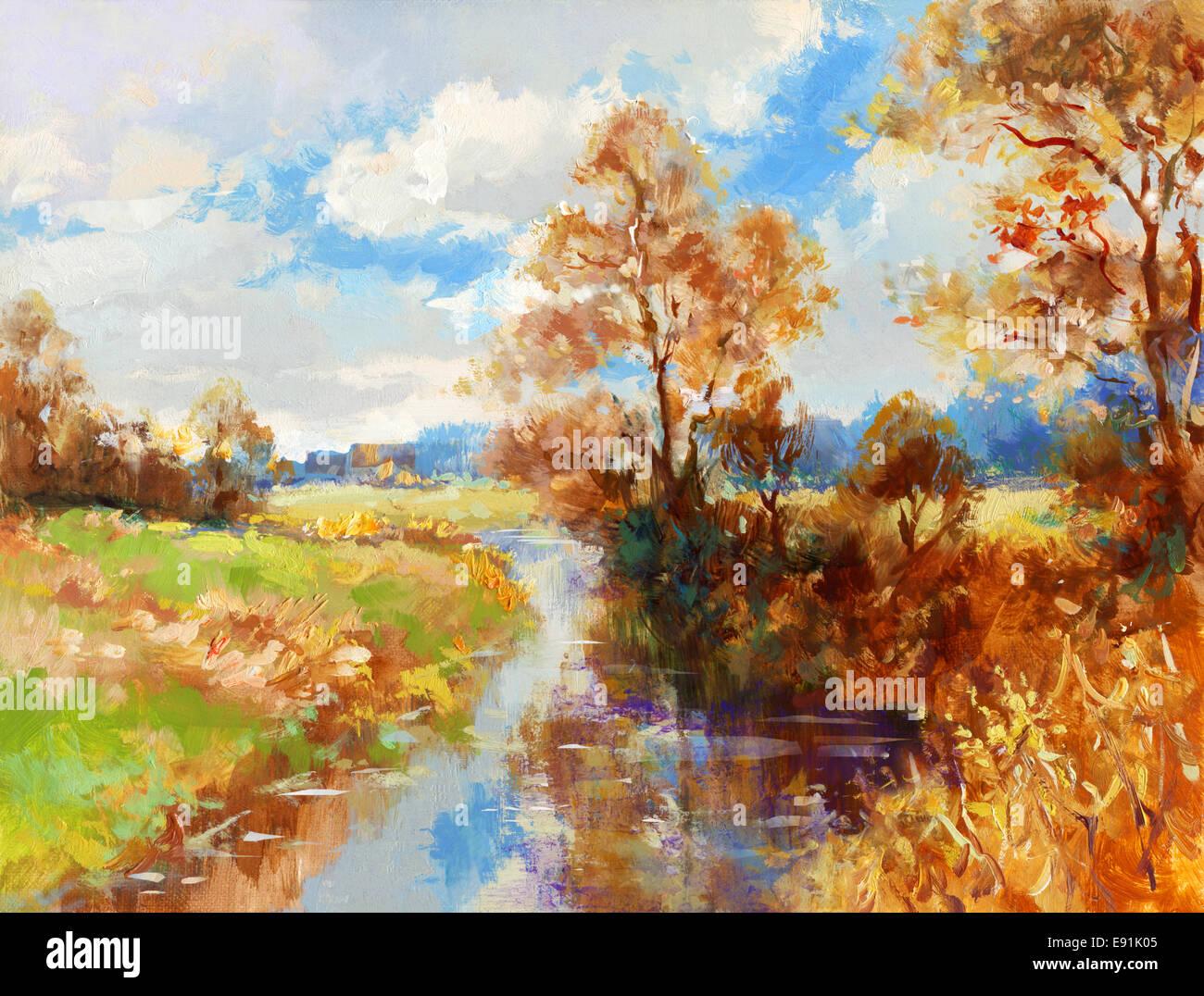 painted landscape - Stock Image