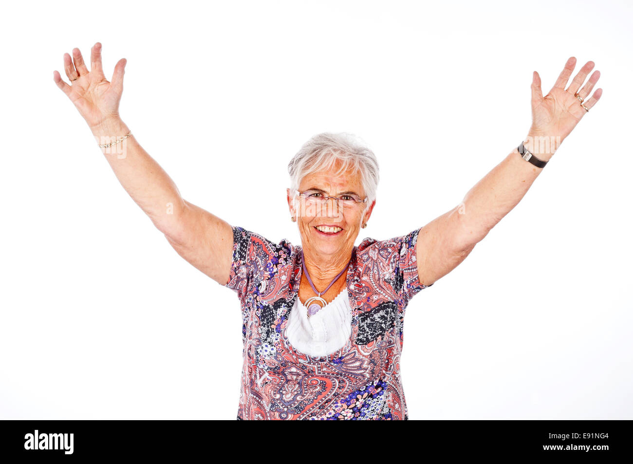 lucky senior woman Stock Photo