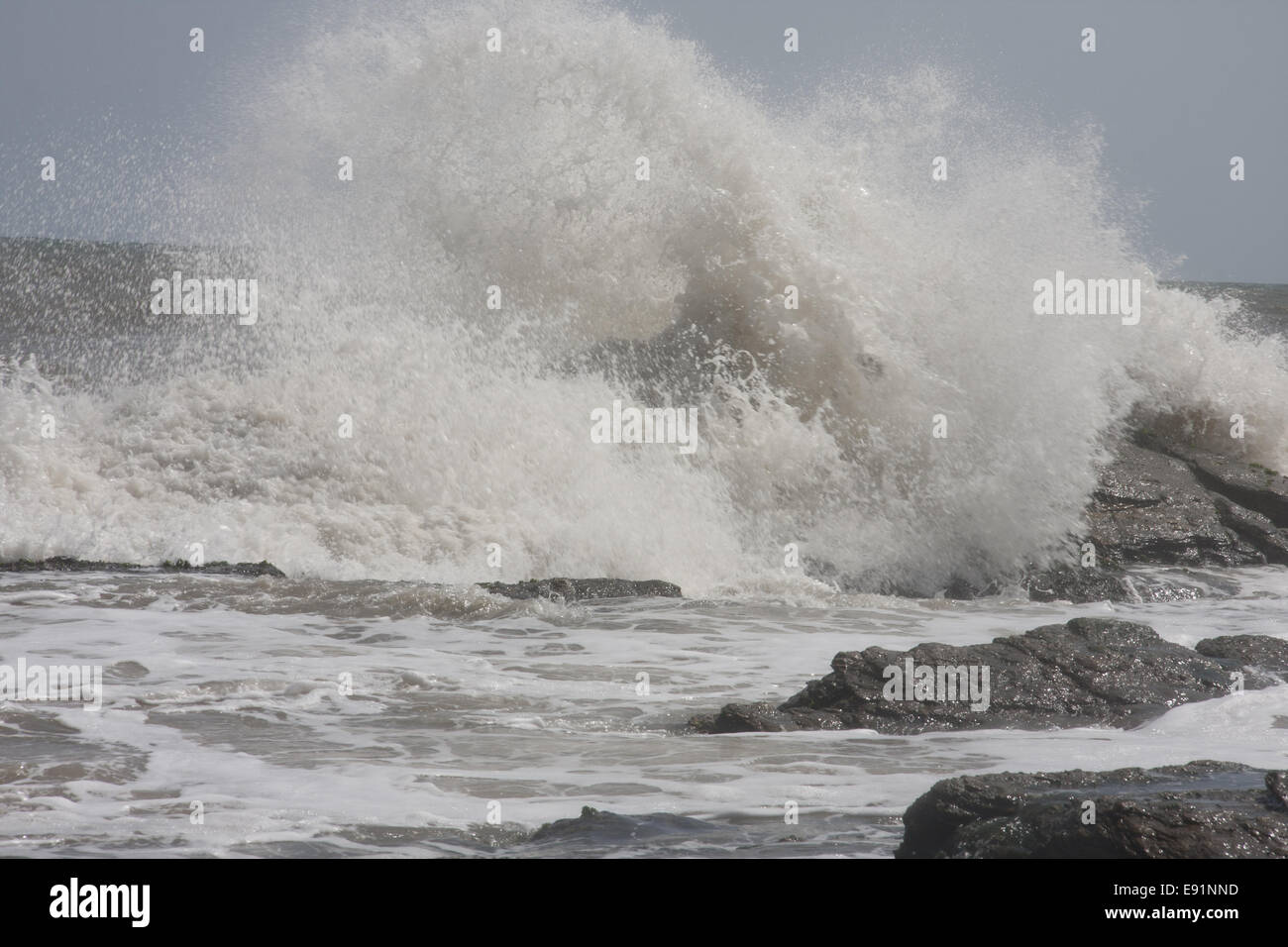 Spray at ghanaian coast - Stock Image