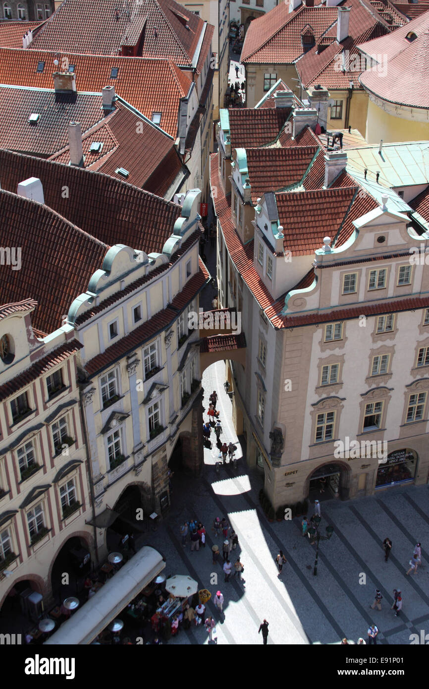 Prague streets and roof - Stock Image