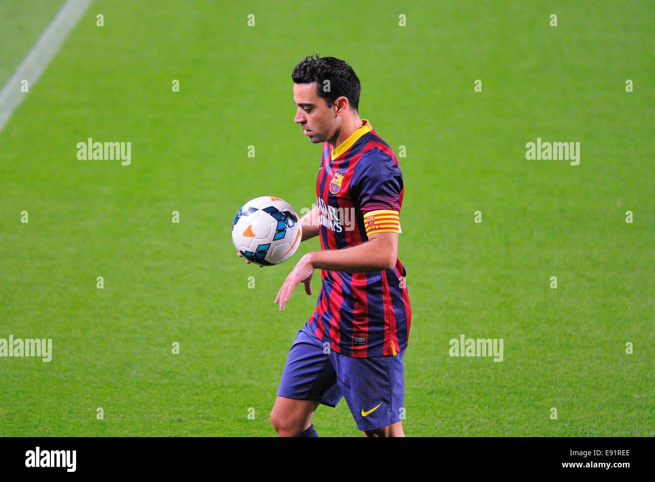 BARCELONA - APR 21: Xavi Hernandez, F.C Barcelona player, in action against Athletic Bilbao at the Camp Nou Stadium. - Stock Image