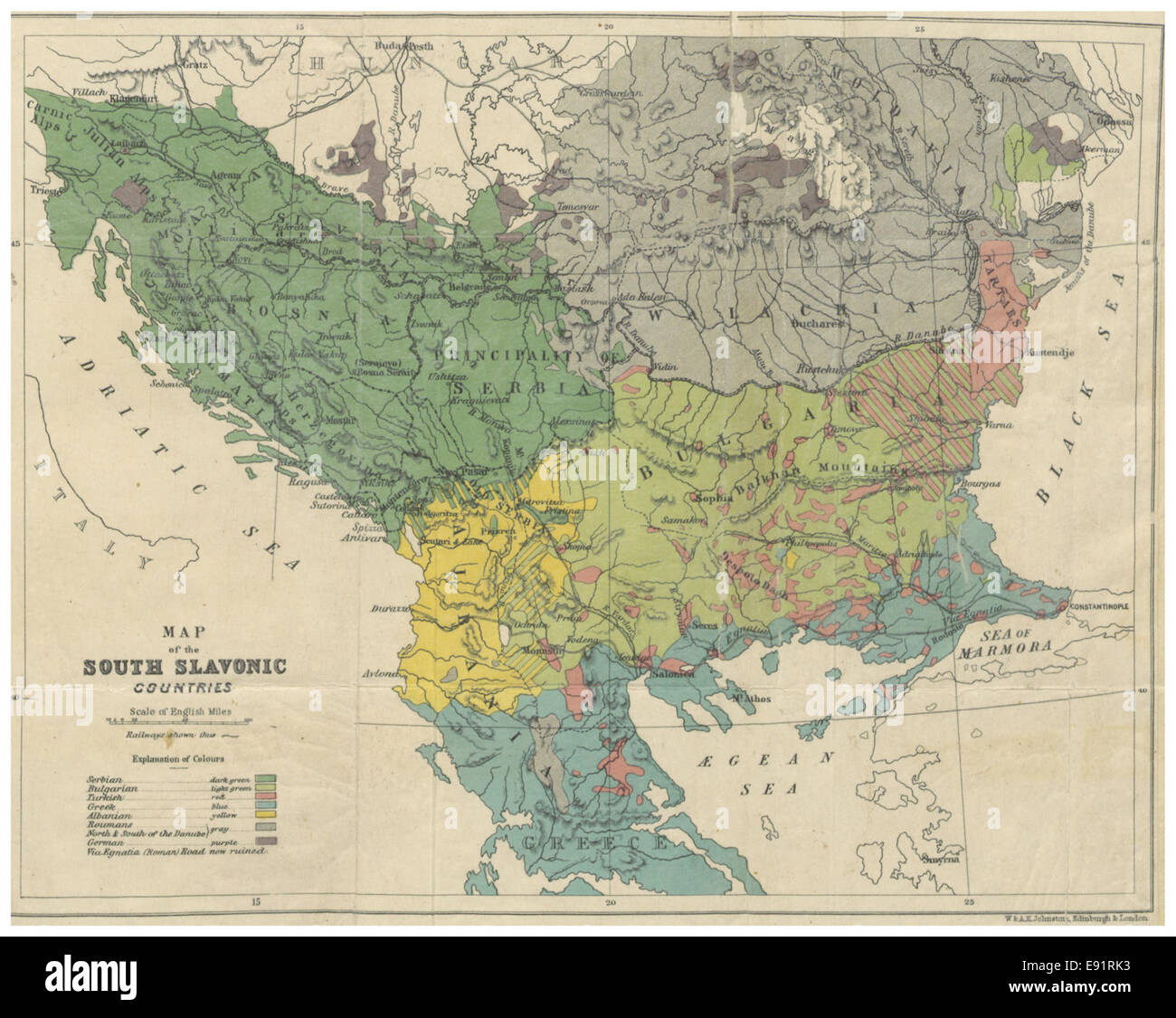 (1877) MAP of the SOUTH SLAVONIC COUNTRIES - Stock Image