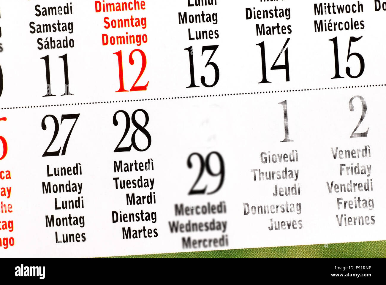 Calendar Of Leap Year February Stock Photo 74413970 Alamy