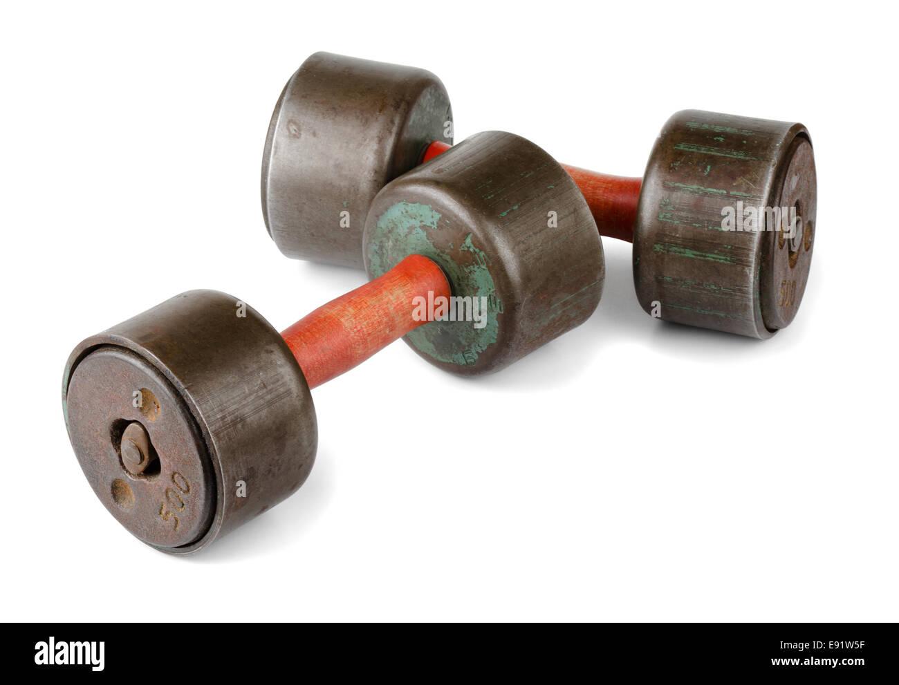 Old dumbbells - Stock Image