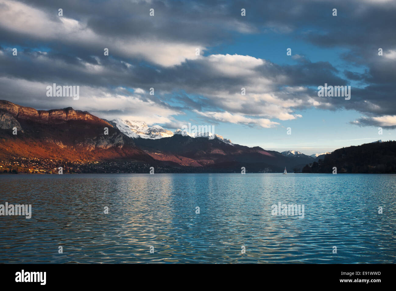 Partly Cloudy Annecy Lake - Stock Image