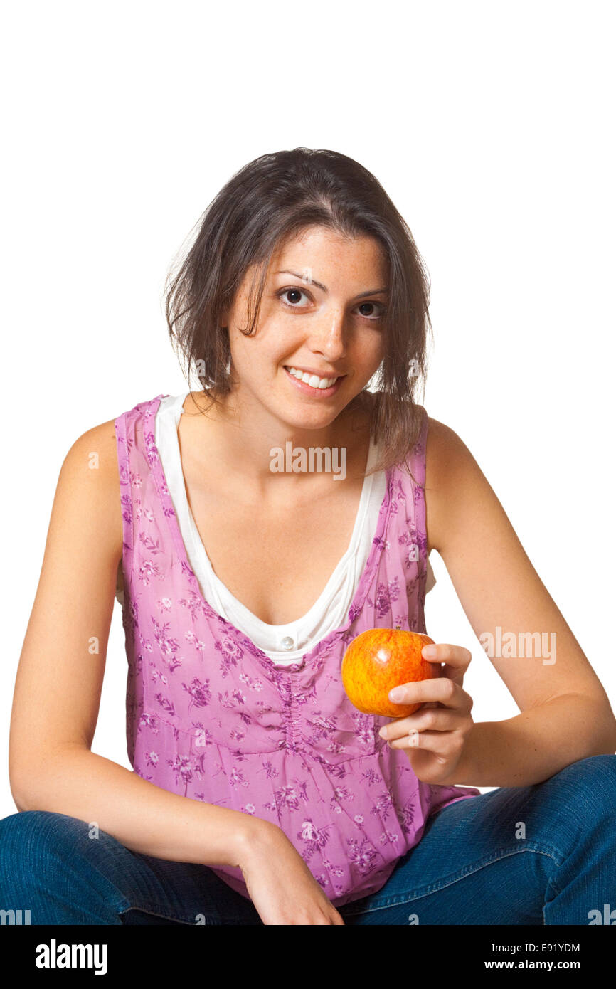 Woman Relaxed Holding Apple Casual - Stock Image