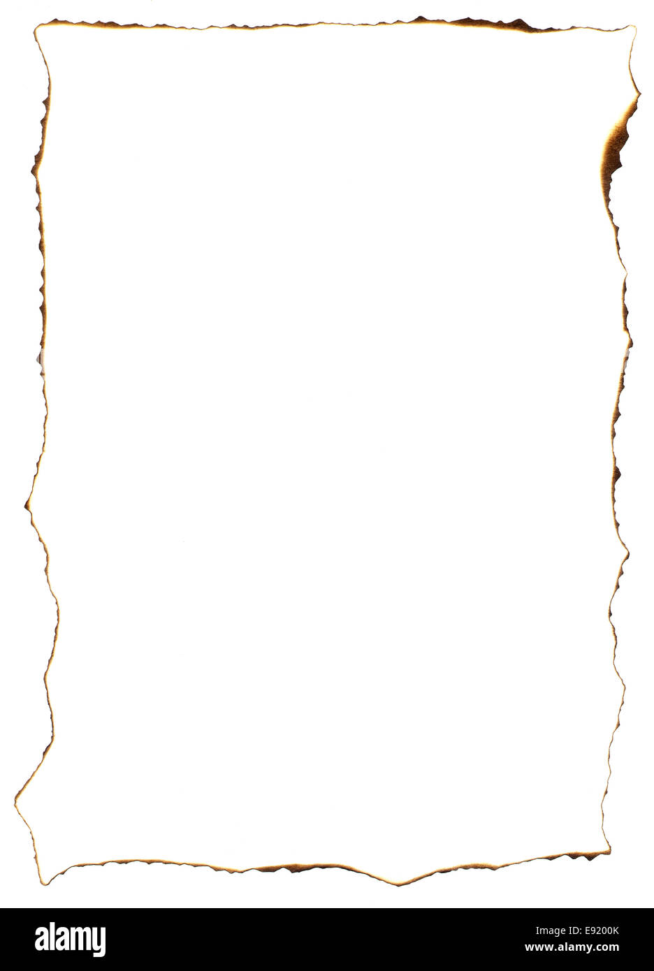 Frame of burnt edges on old paper sheet - Stock Image