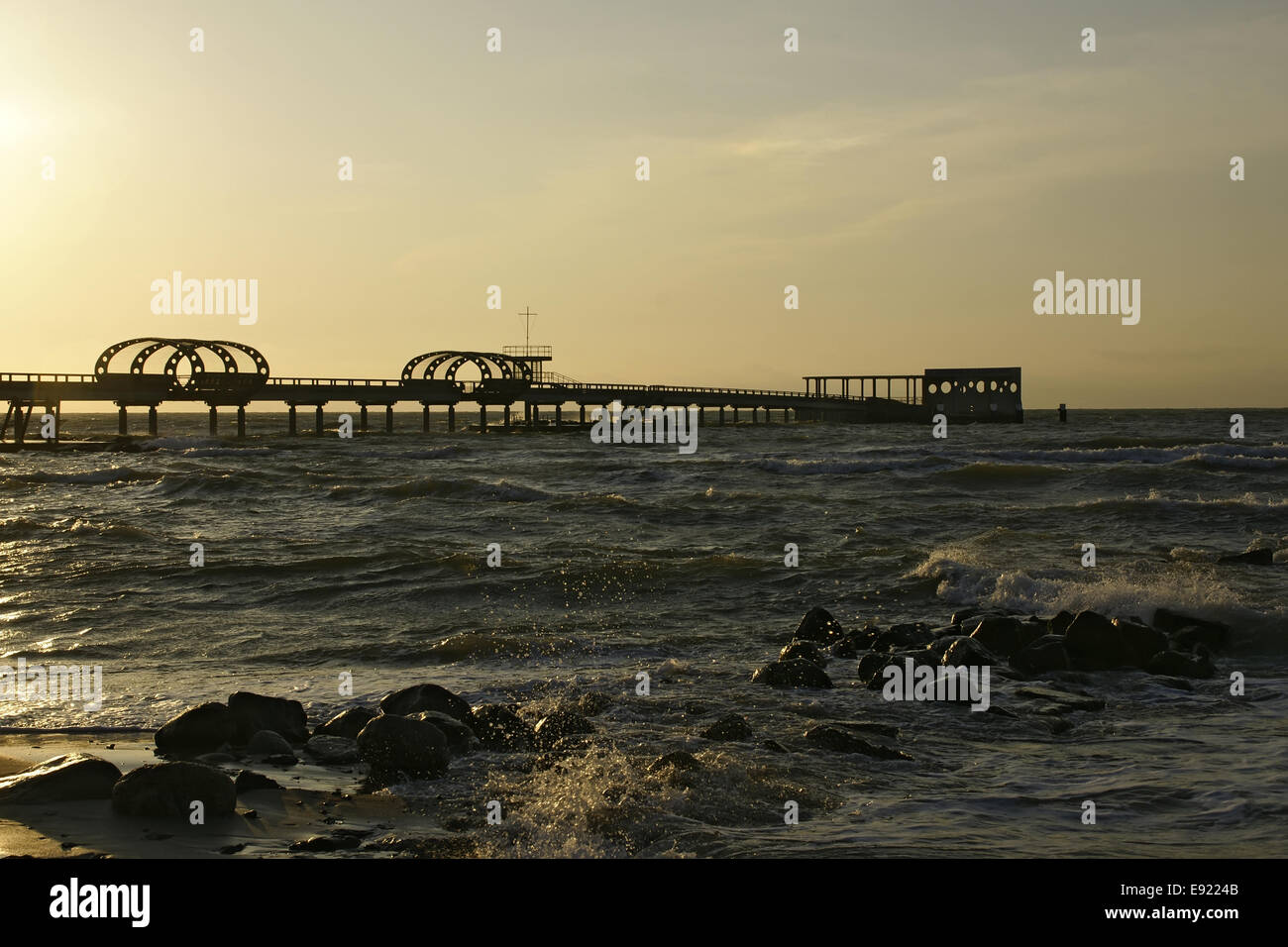 Pier in Kellenhusen, Baltic Sea, at sundown Stock Photo