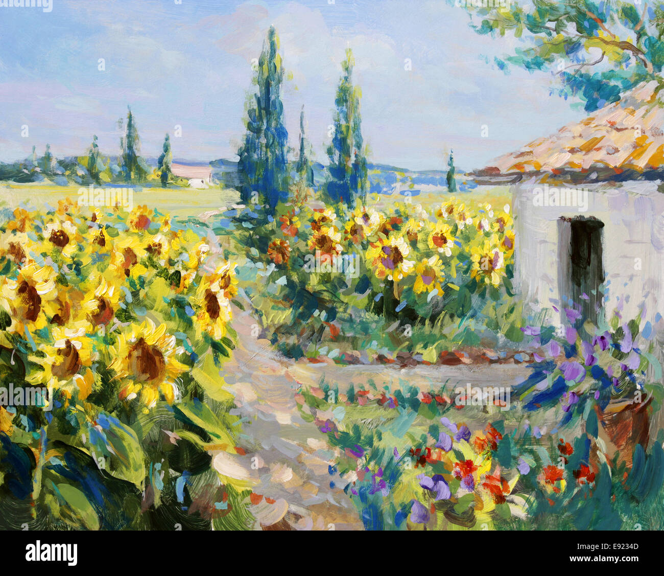 summer landscape painting - Stock Image