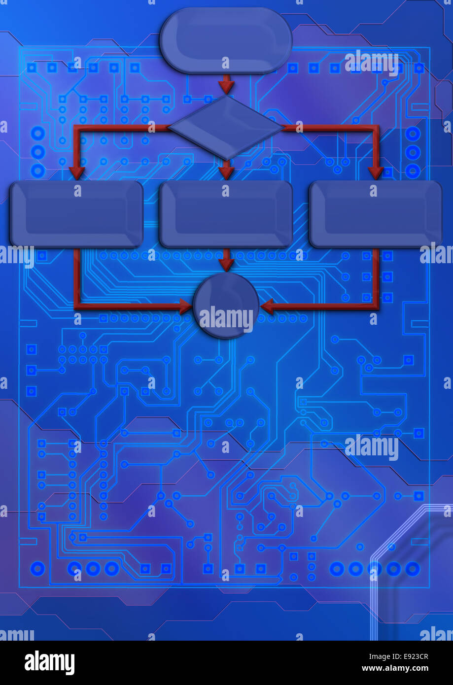 technical backdrop with blueprint circuit board Stock Photo ...