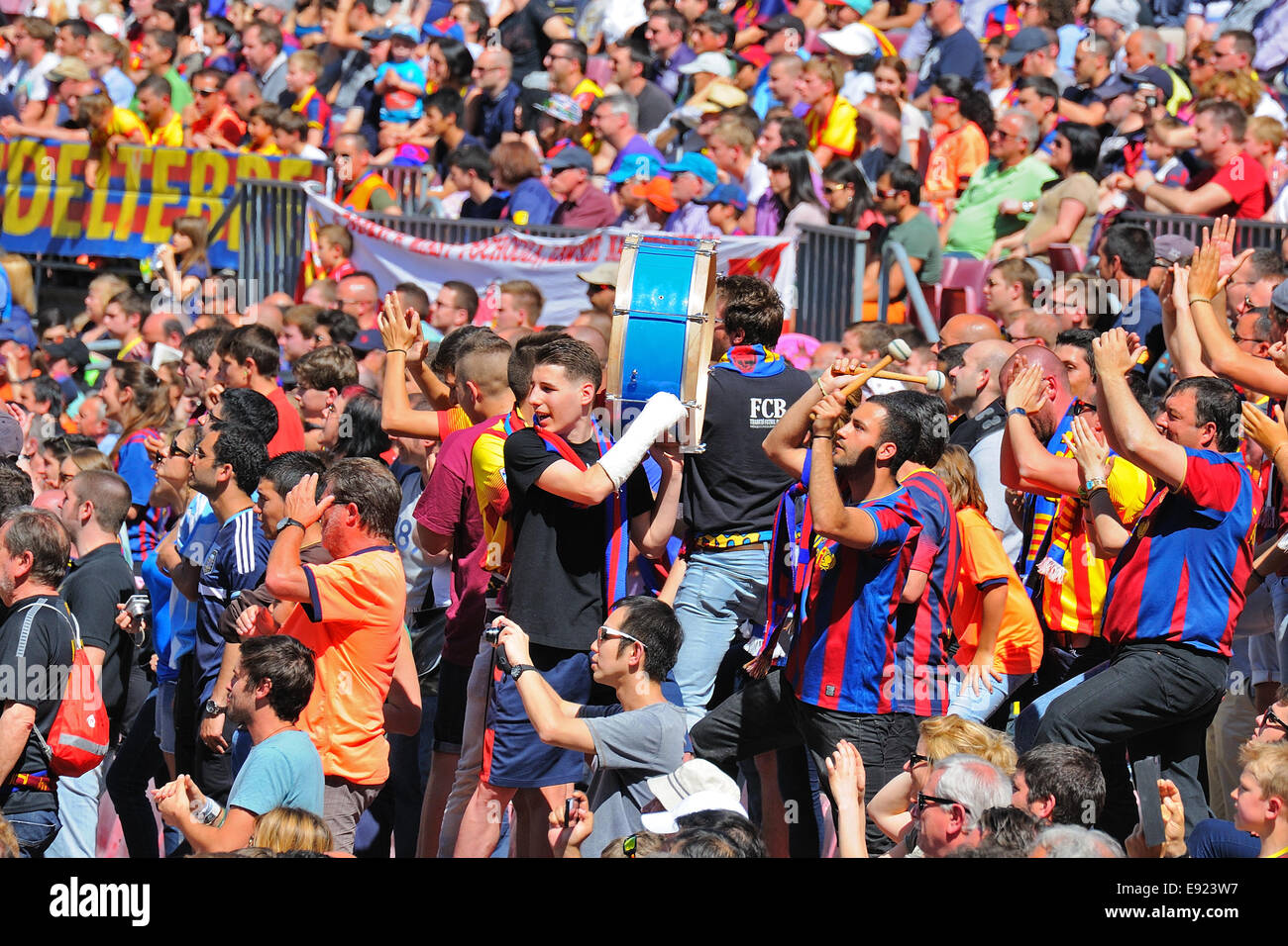 BARCELONA - MAR 26: The Boixos Nois, radical F.C. Barcelona supporters at the Camp Nou on the Spanish League. - Stock Image