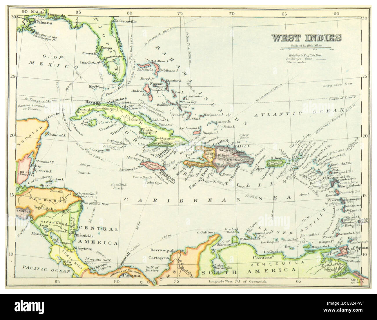 1899) MAP OF WEST INDIES - comp. by Irvine Stock Photo ...