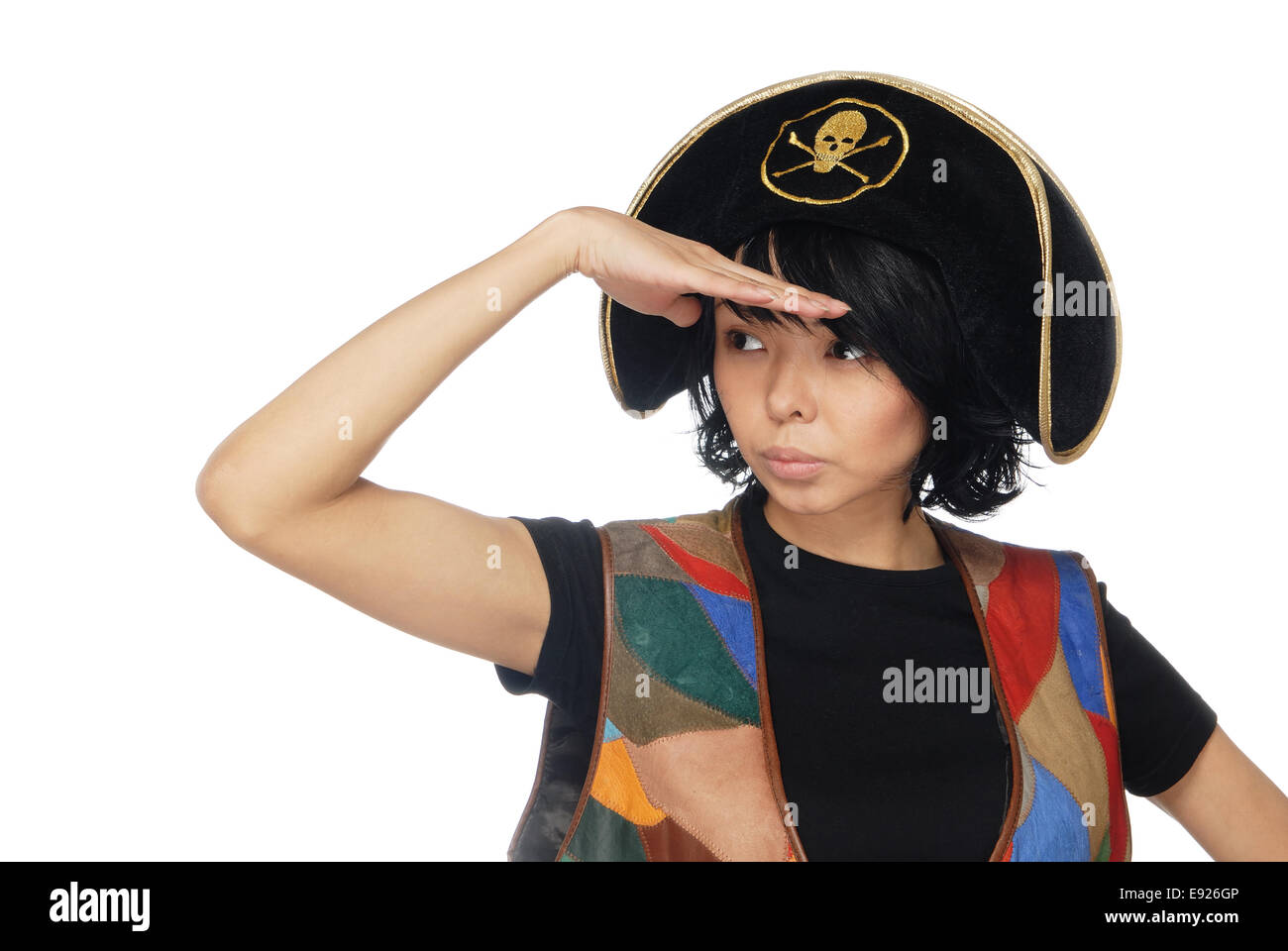 Observant piratic captain - Stock Image