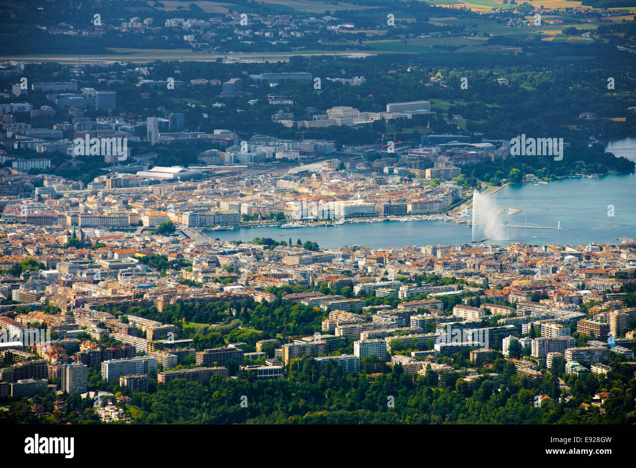 Aerial View Lake Geneva - Stock Image