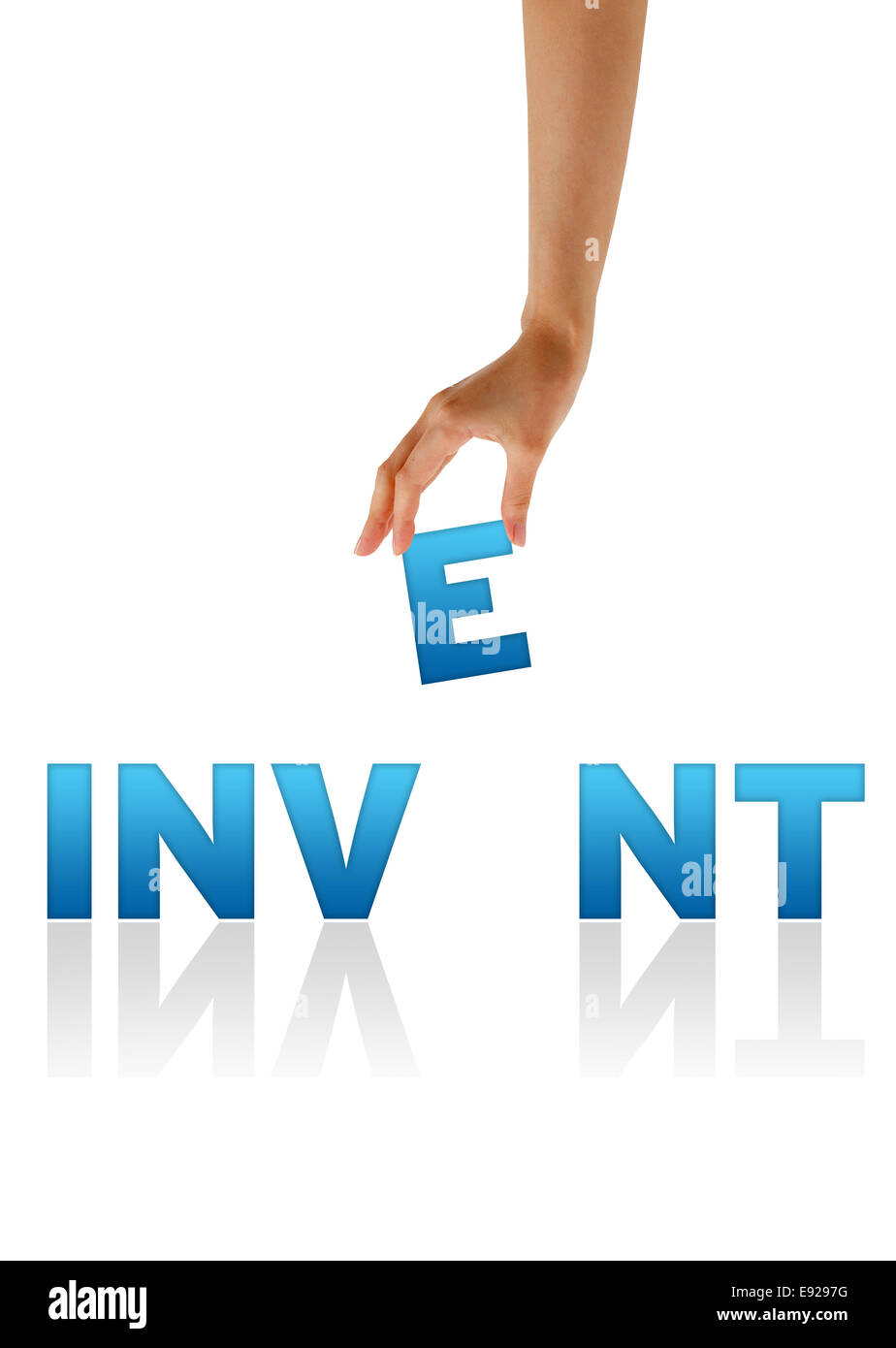 Hand holding E of the word Invent - Stock Image
