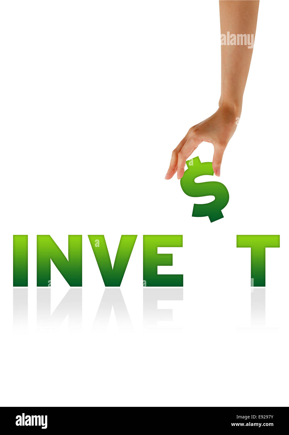 Hand holding $ of the word Invest - Stock Image