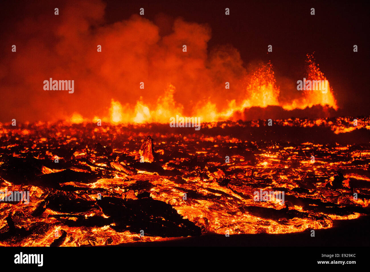 eruption across fresh lava I - Stock Image