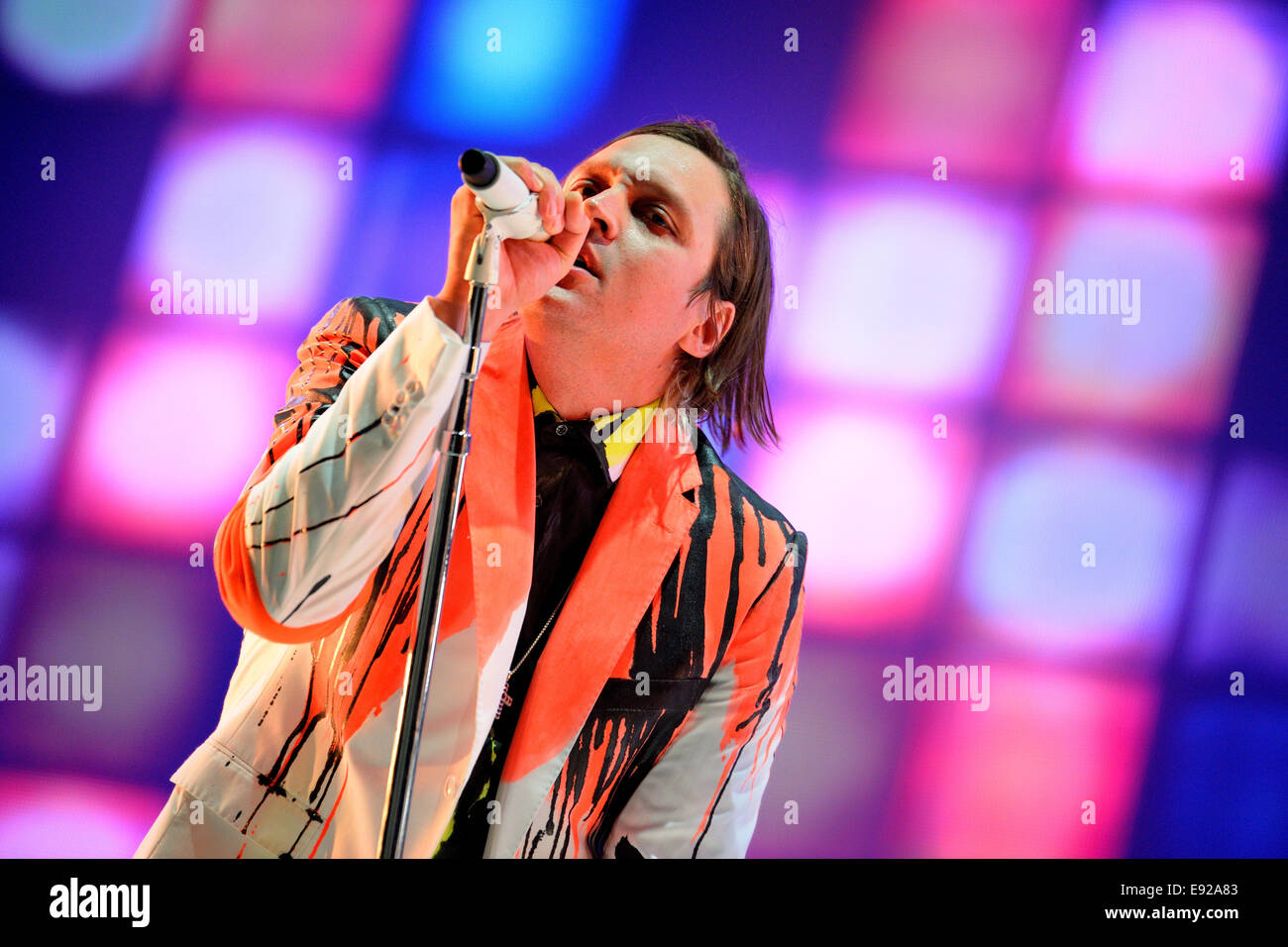 BARCELONA - MAY 29: Arcade Fire (indie rock band based in Montreal, Quebec, Canada) performs at Heineken Primavera - Stock Image