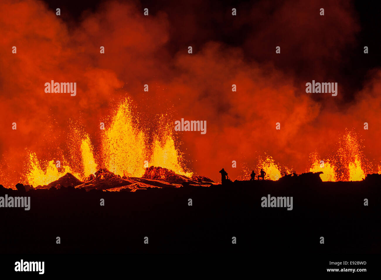 Volcano Eruption Iceland 2014 - Stock Image