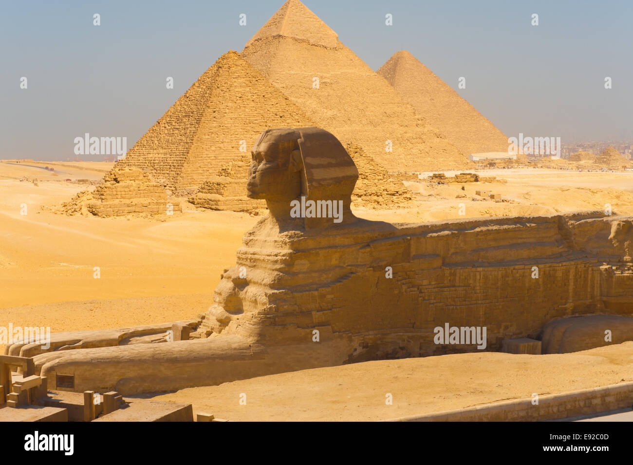 Sphinx Side View Pyramids Giza Composite - Stock Image