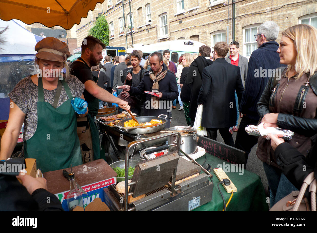Whitecross Street, London UK. 17th October 2014. People descend on Whitecross Street Market near Old Street at mid - Stock Image
