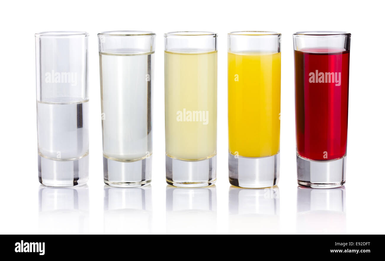 Five shot drink cocktails isolated on white - Stock Image