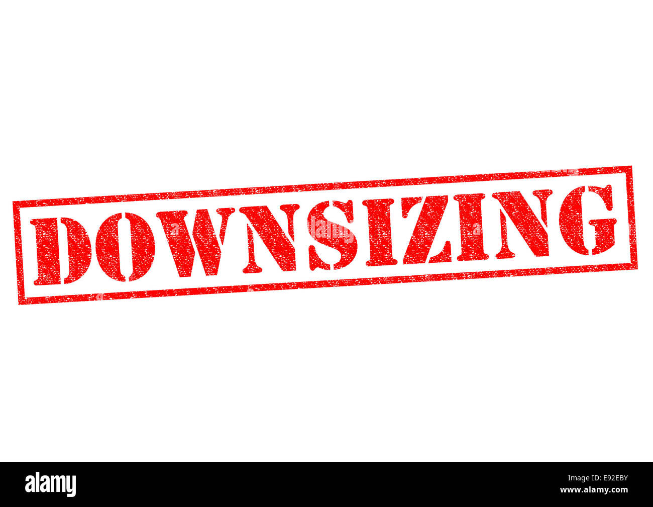 DOWNSIZING red Rubber Stamp over a white background. - Stock Image