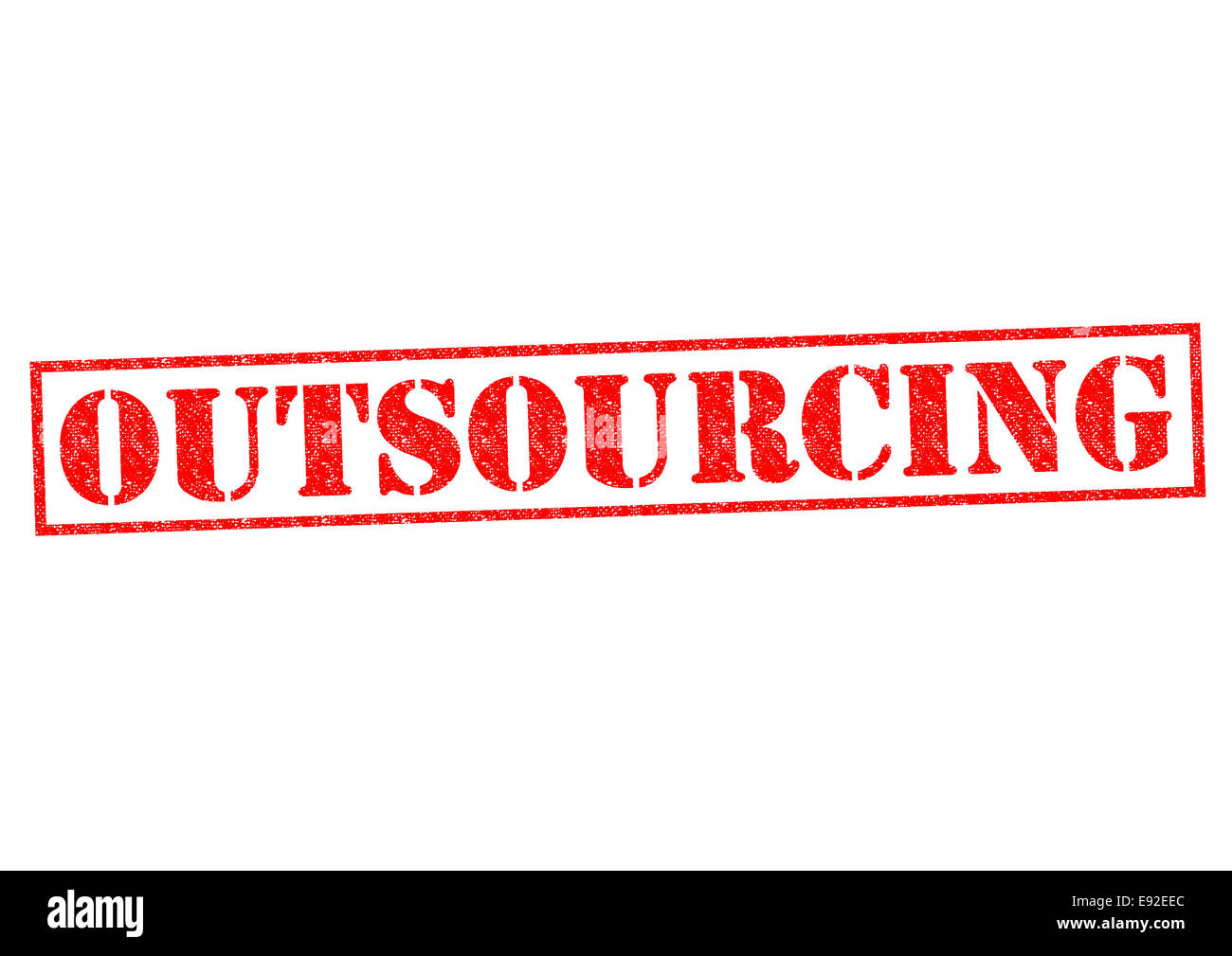 OUTSOURCING red Rubber Stamp over a white background. - Stock Image