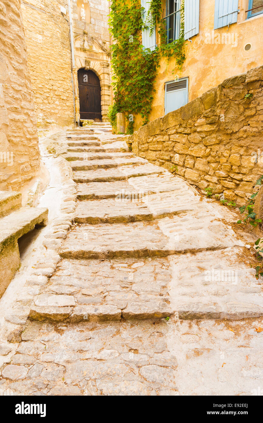 Stone Steps Masonry Village Gordes - Stock Image