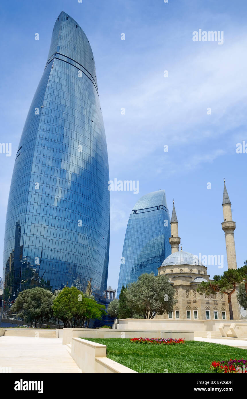 Tradition and modernity. Architecture of Baku - Stock Image