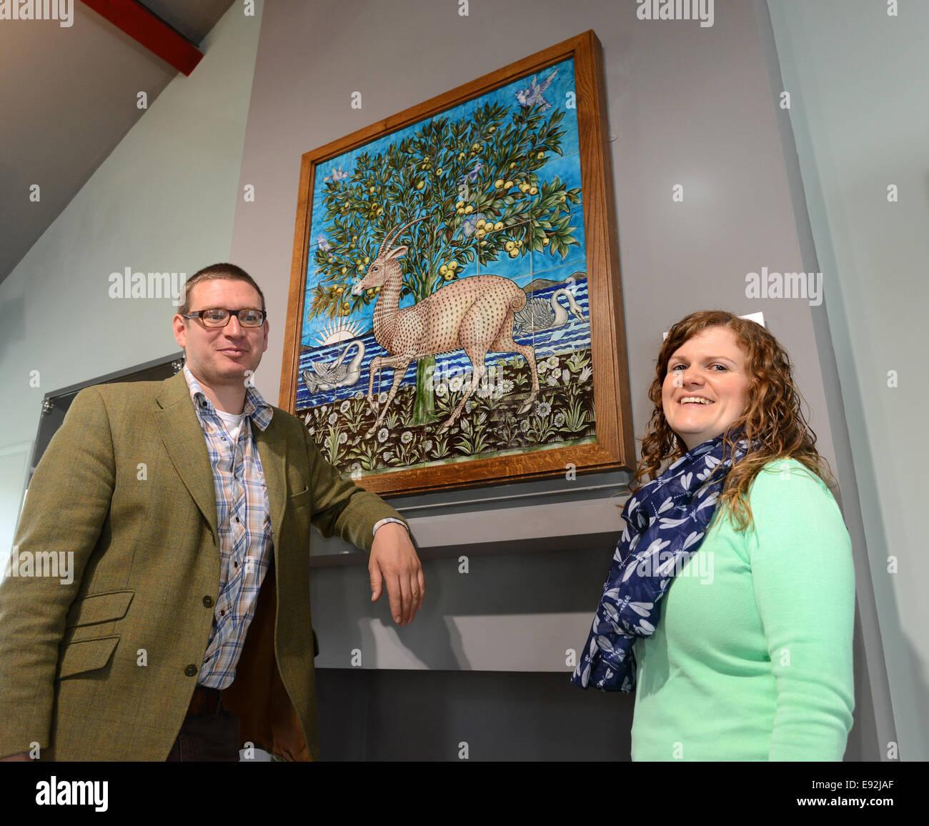 Jackfield Tile Museum senior curator Dr Matt Thompson and Gillian Crumpton (Curator) with the 'World class' - Stock Image