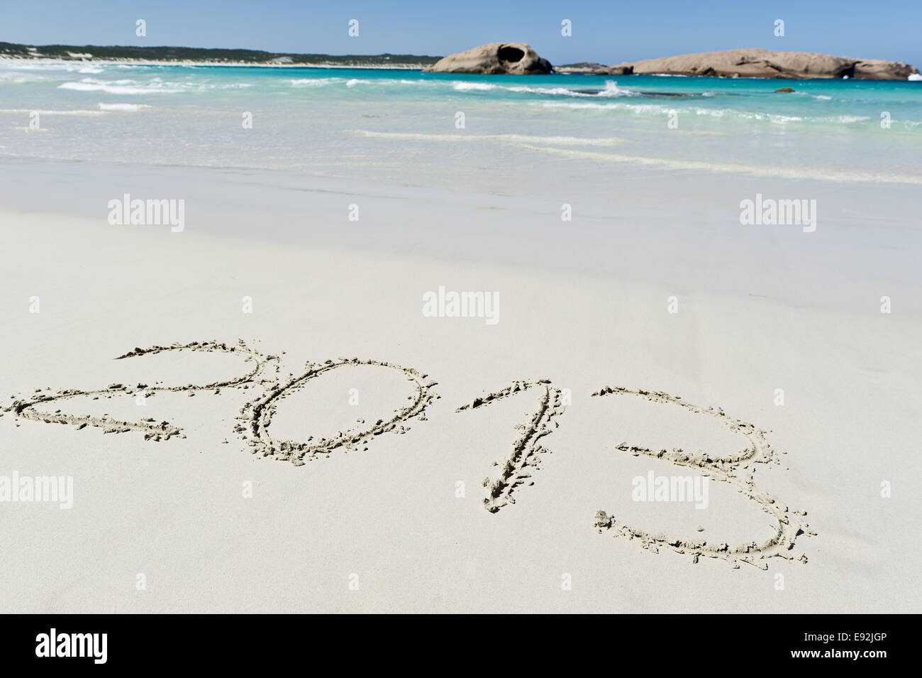2013 written in the sand - Stock Image