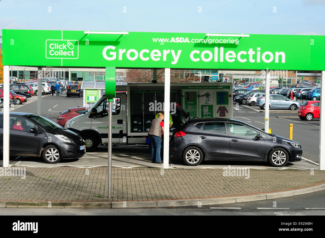 asda supermarket 39 click and collect 39 grocery point mansfield uk stock photo 74433285 alamy. Black Bedroom Furniture Sets. Home Design Ideas
