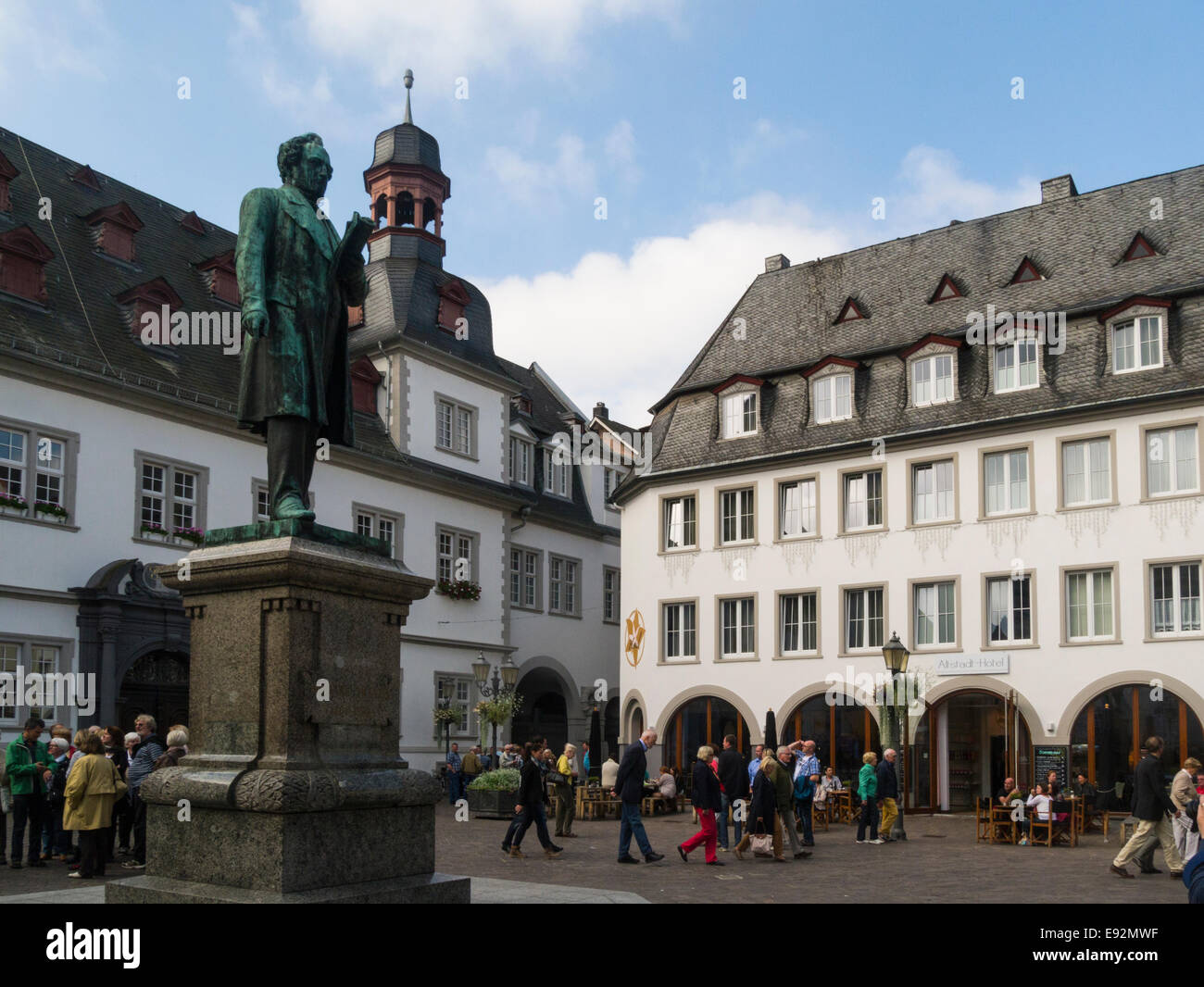 Statue Johannes Muller (1801 - 58) anatomist and physiologist who was born in Koblenz,Germany EU In Jesuiten Platz - Stock Image