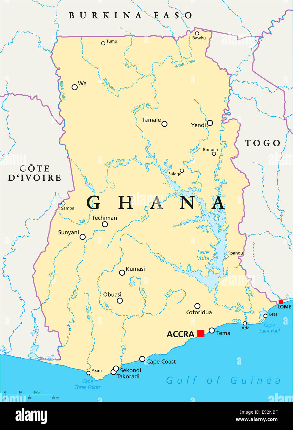 Ghana Political Map with capital Accra, national borders ...