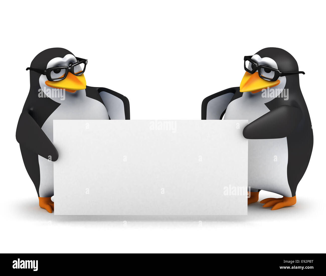 3d Render Of Two Penguins Holding A Blank Banner Stock Photo Alamy