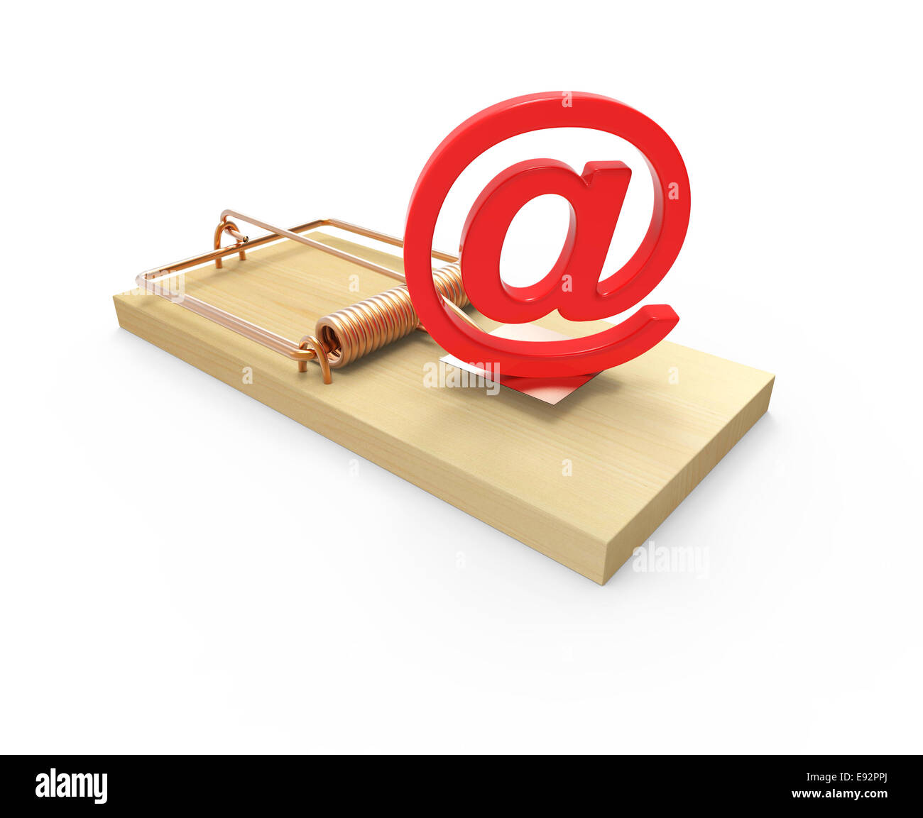 3d Render Of A Mousetrap With An Email Address Symbol As Bait Stock