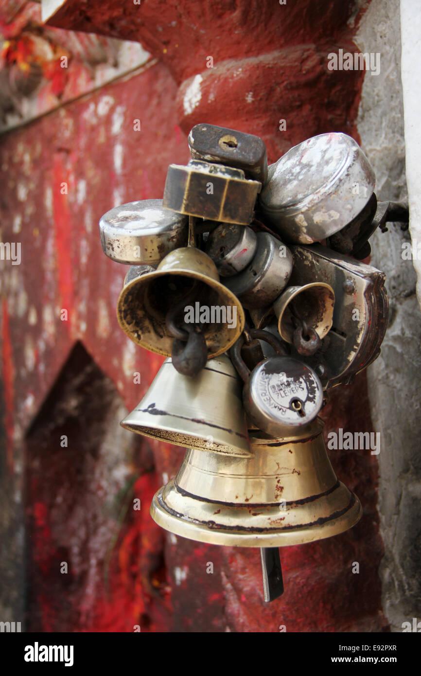 Bells and Locks Bodhnath Stupa, Kathmandu, Nepal - Stock Image