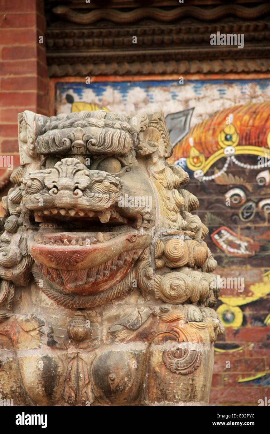 Nepali Lion Statue, Patan, Kathmandu Nepal - Stock Image