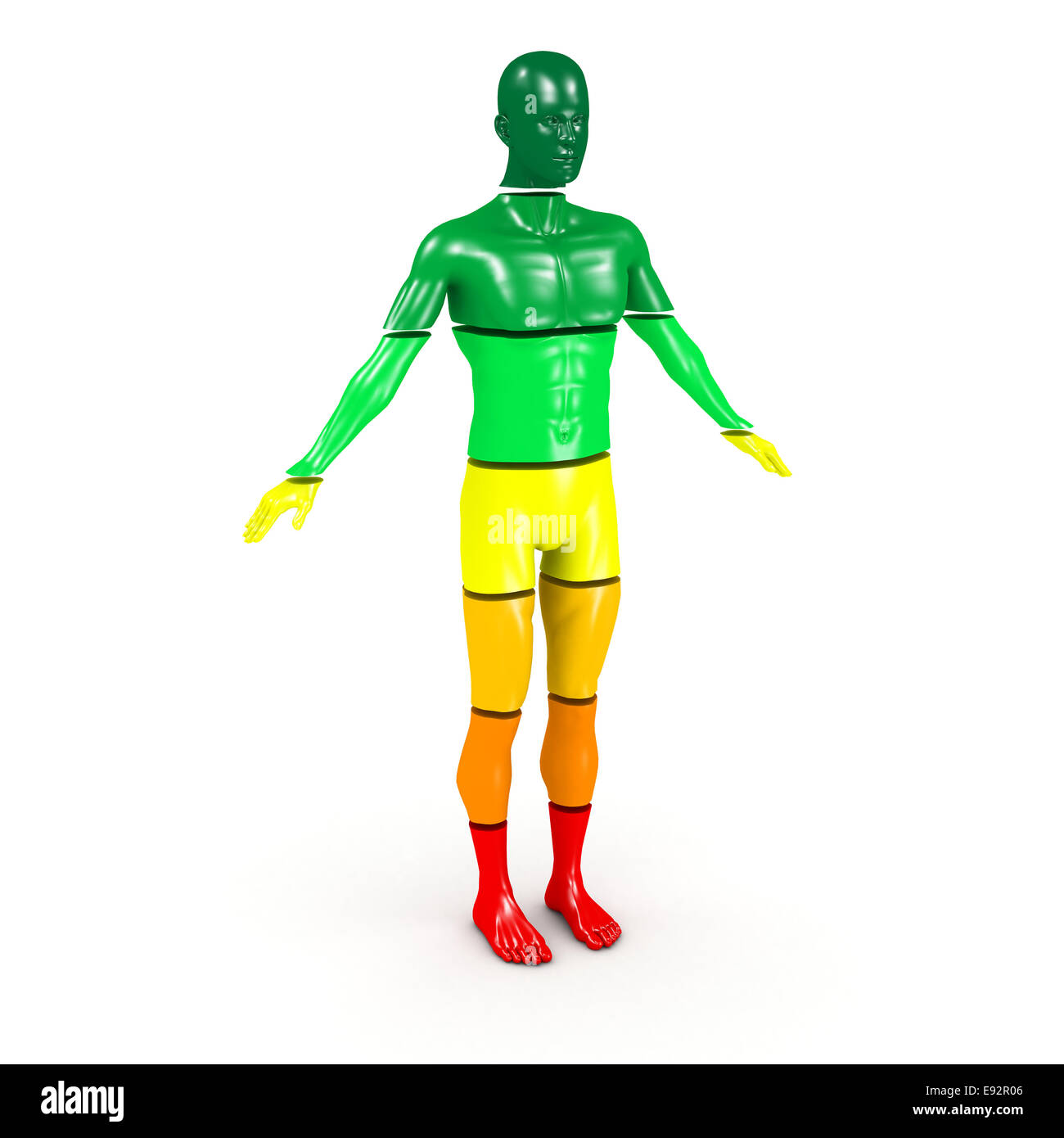 3d render of a man split into colored bars - Stock Image