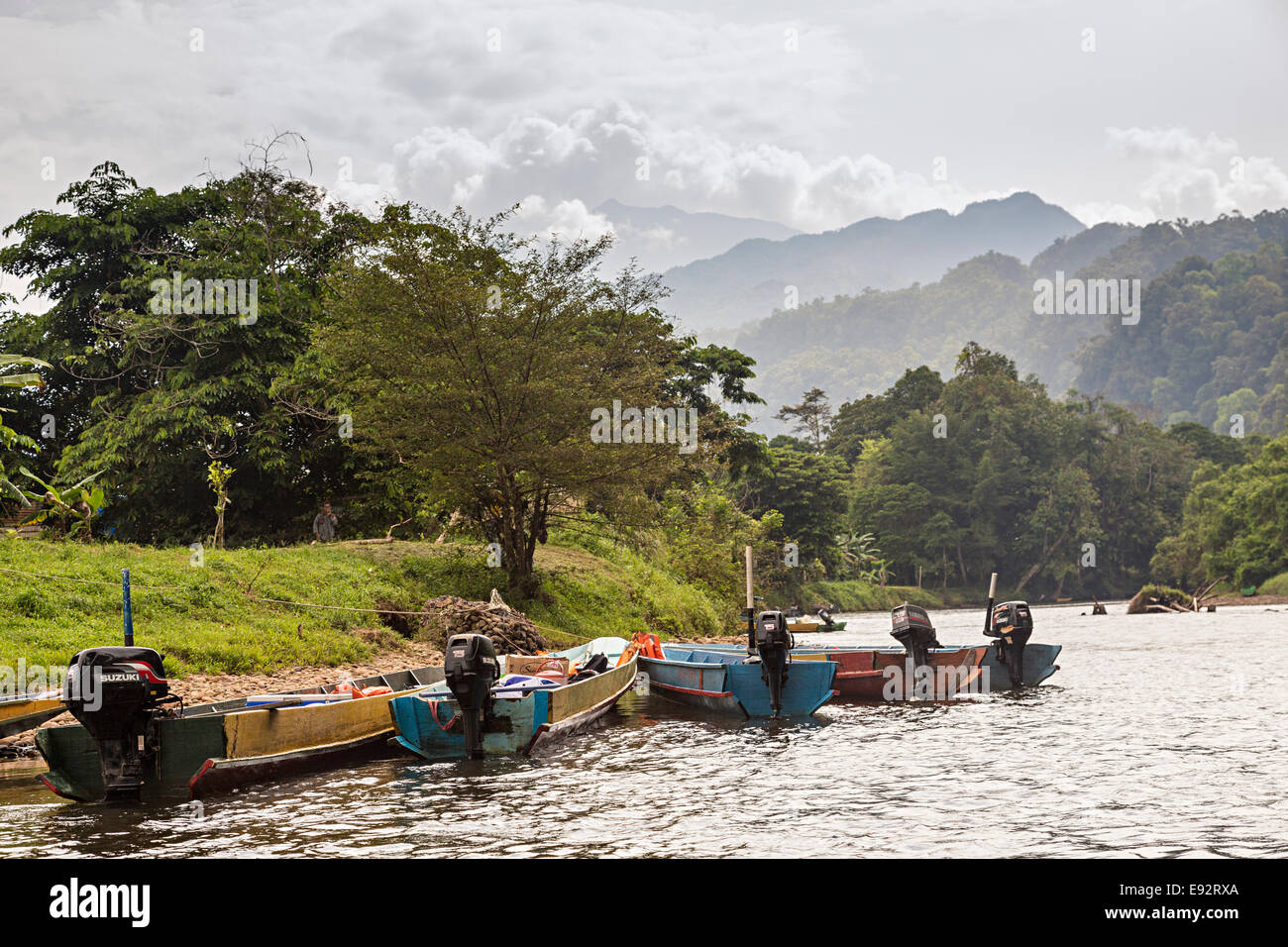 Boats with outboard motors on the river Melinau with rainforest and mountains in distance, Mulu, Malaysia - Stock Image